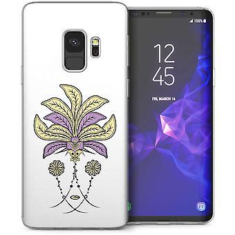 Samsung Galaxy S9 Art Deco bloemen TPU Gel Case – wit