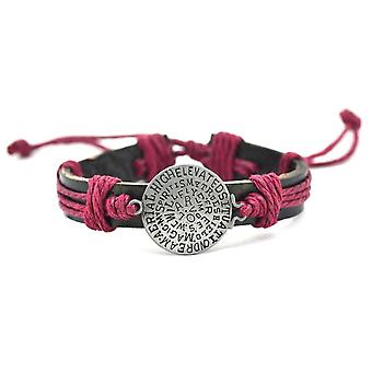 Man Message brown leather bracelet and cord Red
