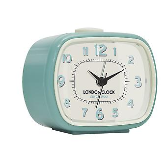 London Clock 1922 8cm Retro Collection Geo Duck Egg Blue Rectangular Alarm Clock