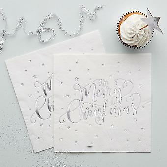 Silver Foiled 'Merry Christmas' White Paper Napkins x 20 3 ply - 33cm square