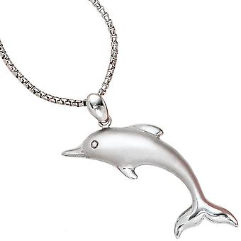 Pendant Dolphin pendant Dolphin sterling silver rhodium plated partly frosted