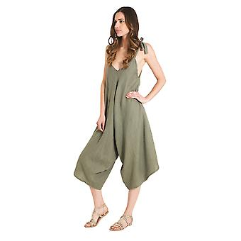 Ladies Lightweight Linen Culotte Dress - Khaki One Size Loose Fit