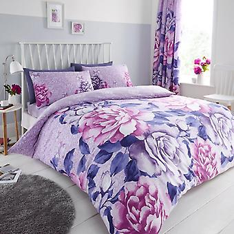 Aubrey Flower 4 Pcs Duvet Cover with fitted sheet Polycotton Floral Bedding Set