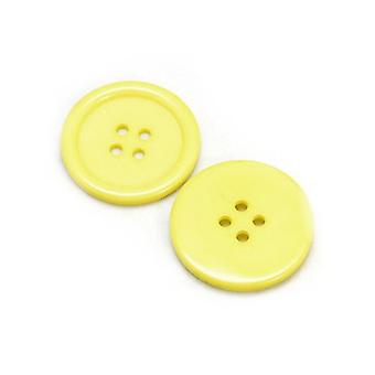 Packet 10 x Yellow Resin 30mm Round 4-Holed Sew On Buttons HA10485