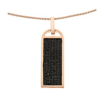 Orphelia Silver 925 Pendant With Chain Roseplated With Black Zirconium  ZH-6045