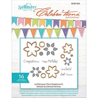 Spellbinder's Celebra'tions Dies W/Stamps 16/Pkg-Just Because