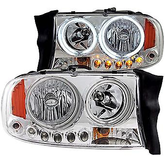 Anzo USA 111193 Chrome Halo Projector Headlight with Amber Reflector for Dodge Dakota/Duranngo