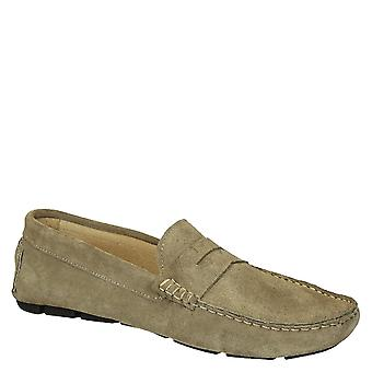 Taupe suede leather driving moccasins for men
