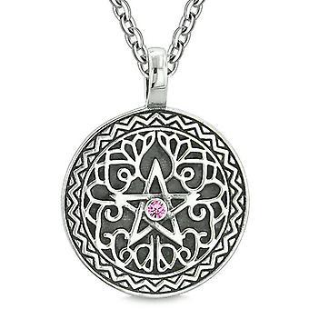 Amulet Pentacle Magic Star Celtic Defense Powers Pentagram Pink Crystal Pendant 18 inch Necklace