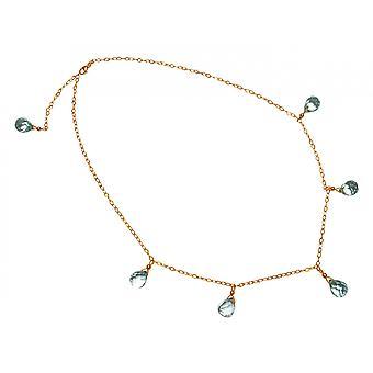 Gemshine - ladies - necklace - gold plated - Crystal - faceted blue - 50 cm - length adjustable - drop-
