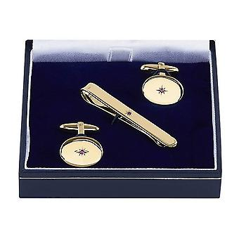 Orton West Ruby Set Cufflinks and Tie Bar Set - Gold
