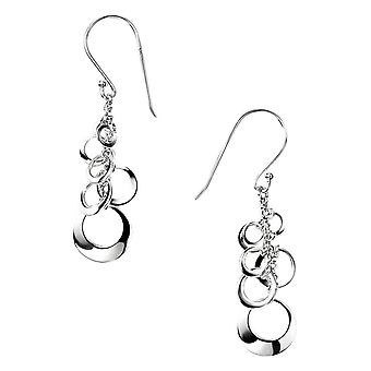Elements Silver Open Multi Disc Cluster Drop Earrings - Silver