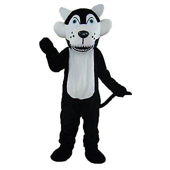 mascot SPOTSOUND of black and White Wolf with blue eyes