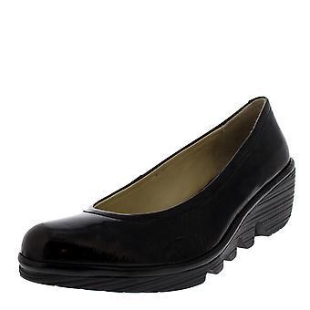 Mujeres volar Londres Luxor bailarina negra trabajo Oficina cuña talón zapatos de la bomba