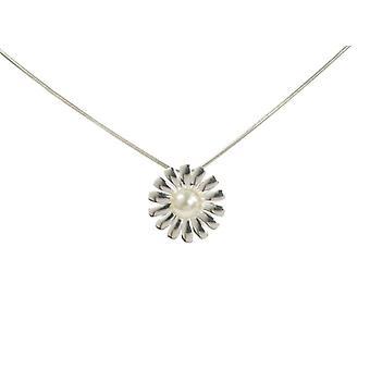 Cavendish Pétalo Puntiagudo francés perla y colgante de Margarita de plata esterlina con cadena de plata de 16-18