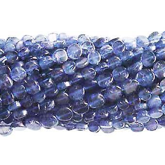 Strand 60 + Indigo Iolite ca 5-6mm almindelig mønt hånddrejet perler DW1220