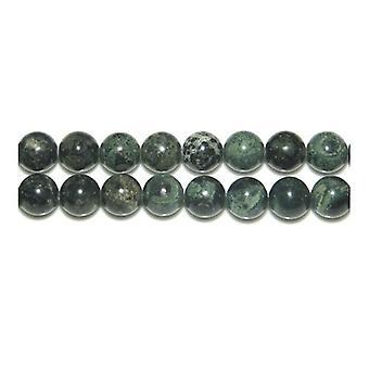 Aktionsdel 60 + grøn/sort Kambaba Jasper 6mm almindelig runde perler Y02205
