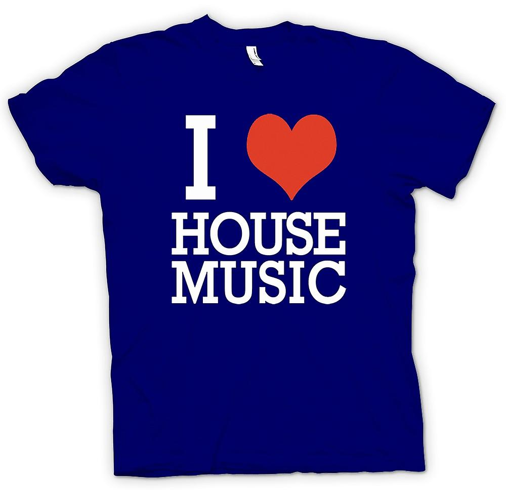 Mens T-shirt - I Love Heart House-Musik - DJ