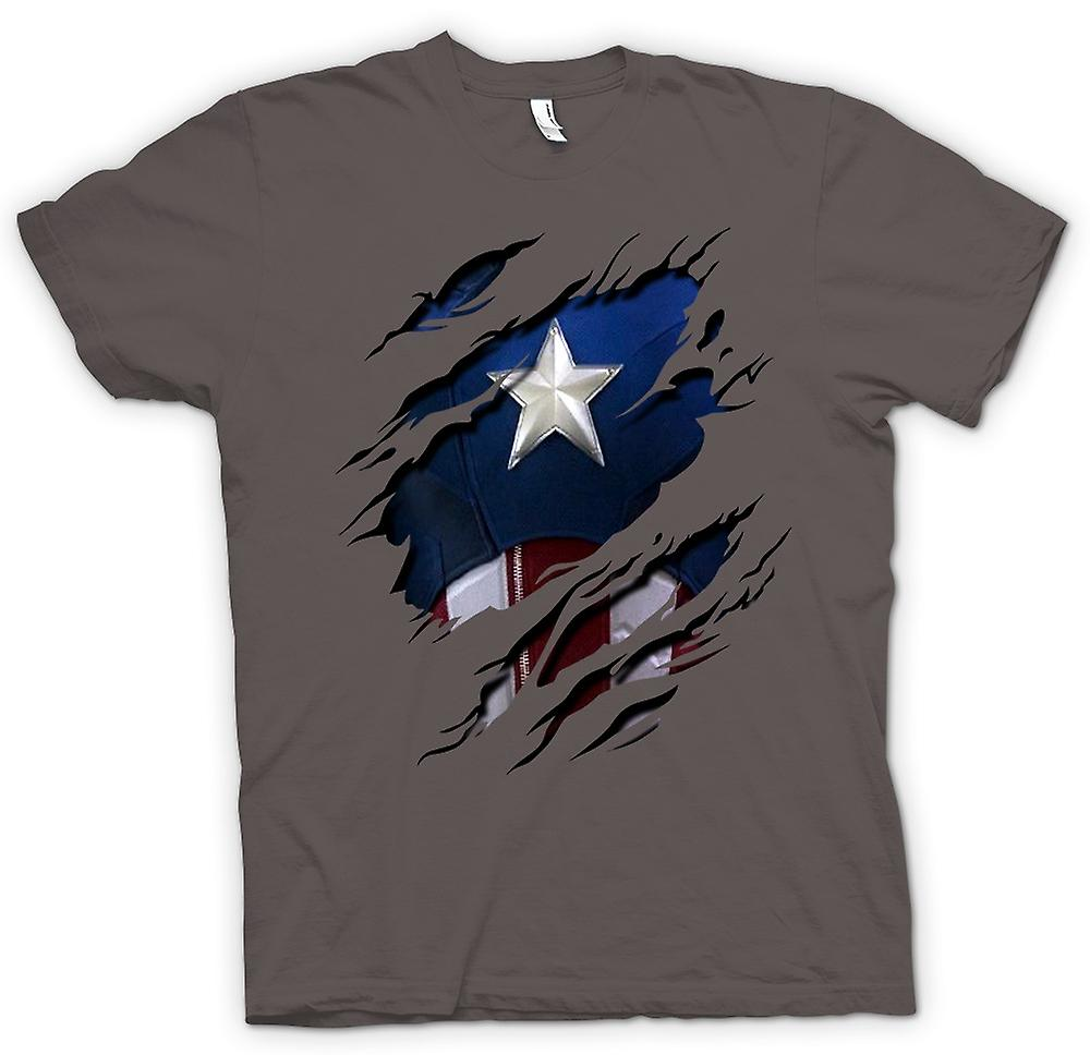 Womens T-shirt - Retro Captain America Super Hero Ripped Design