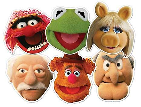 Den Muppets Card Face Mask Set med 6 (Kermit, Miss Piggy, Animal, Statler, Waldorf och Fozzie)