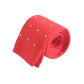 コンパクトな織り pindot ニット ネクタイ-赤