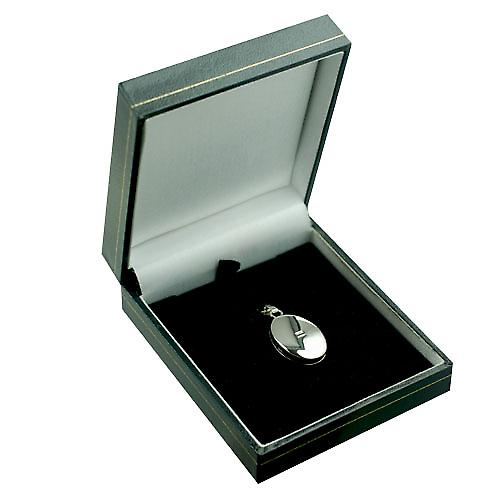 9ct White Gold 22x15mm diamond set oval Locket