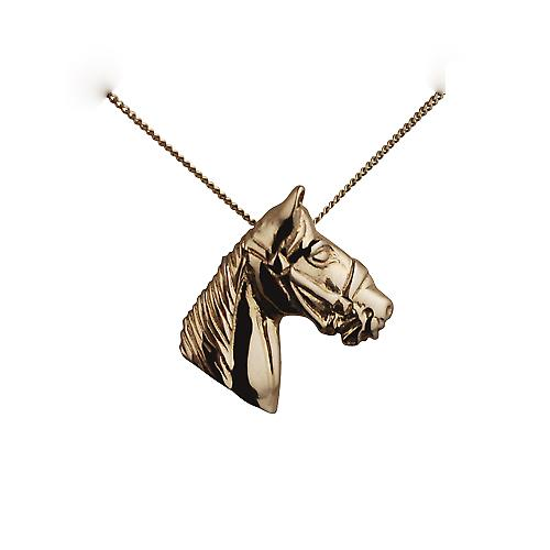 9ct Gold 15x15mm Horse Head Pendant with a curb Chain 16 inches Only Suitable for Children
