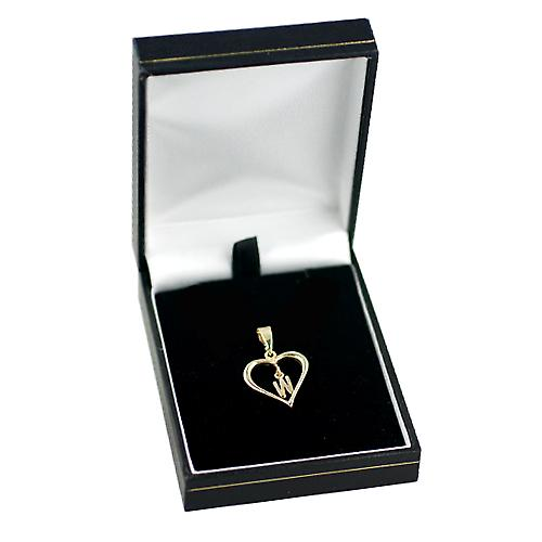 9ct Yellow Gold 18x18mm heart with a hanging Initial W
