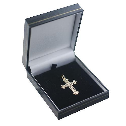 9ct Gold 30x22mm fancy embossed pattern Cross