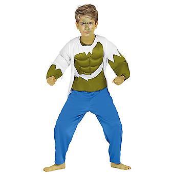 Jongens groen Strongman Hulk superheld Fancy Dress kostuum