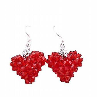 Pasión de Puffy corazón de cristal rojo Siam Lite plata 92,5 pendientes