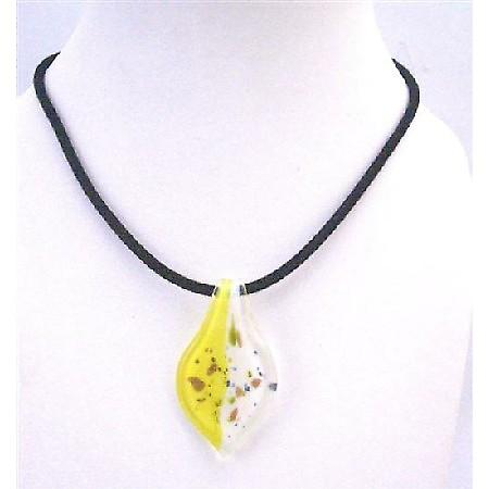 Hand Painted Lemon & White Murano Leaf Painted w/ Black Chord Necklace