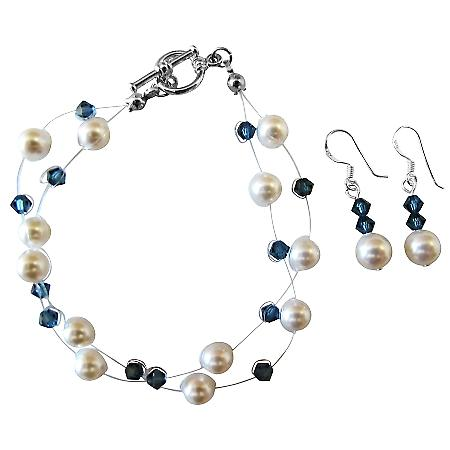 White Pearls Montana Crystals Double Stranded Bracelet & Earrings Set