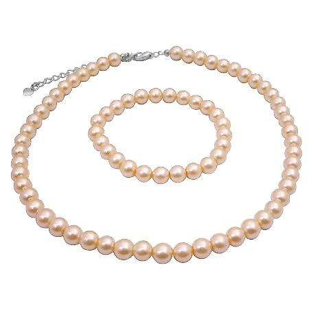 Dainty Peach Necklace & Bracelet Synthetic High Quality Pearls