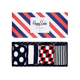 Happy Socks 4 Pair Pack Strip Gift Box - Red, White, Blue Size UK 7-11