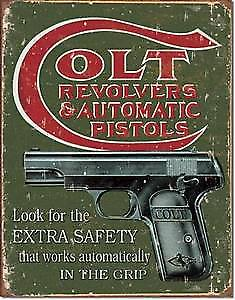 Colt Revolvers Extra Safety metal sign  (de)