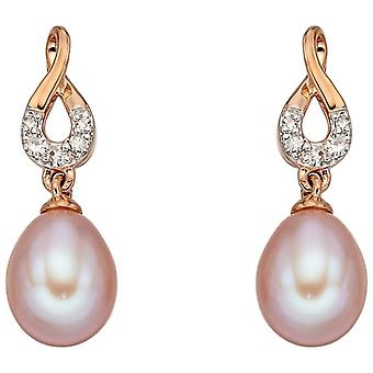 Elements Gold Freshwater Pearl Drop Earrings - Pink/Rose Gold