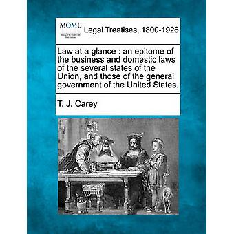 Law at a glance  an epitome of the business and domestic laws of the several states of the Union and those of the general government of the United States. by Carey & T. J.