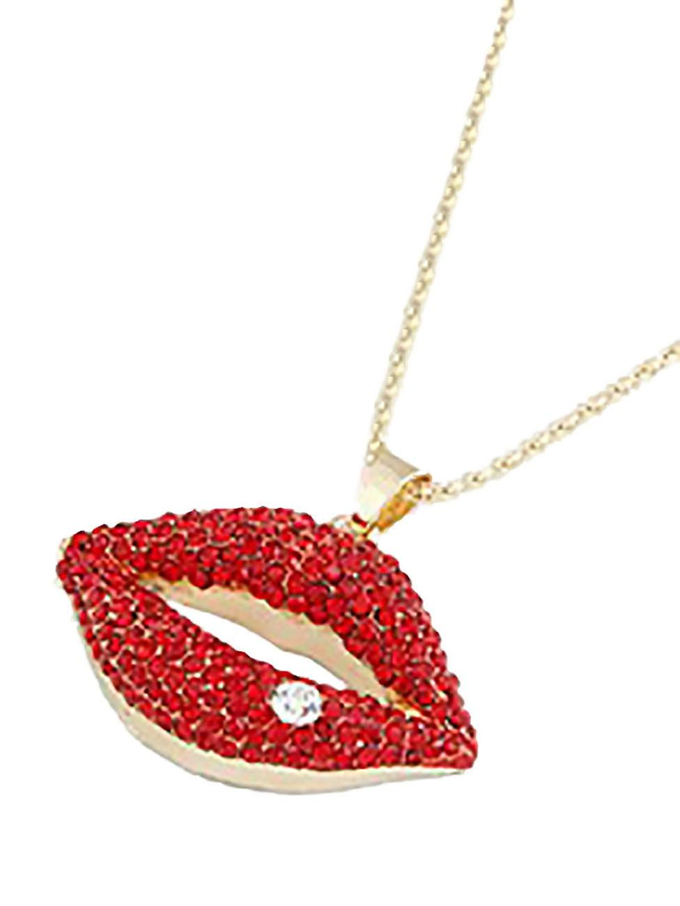 Waooh - collier long avec bouche en strass