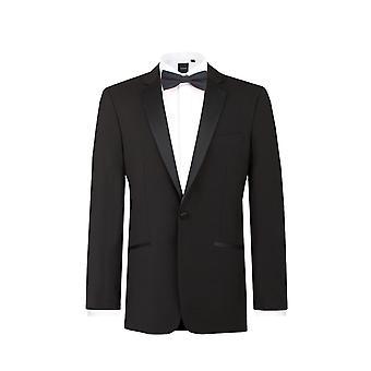 Dobell Mens Black 2 pezzo Tuxedo vestibilità regolare risvolto tacca