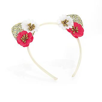 Girls red white and gold flower ears design headband