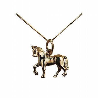 9ct Gold 13x15 unsaddled Horse Pendant with a curb Chain 16 inches Only Suitable for Children