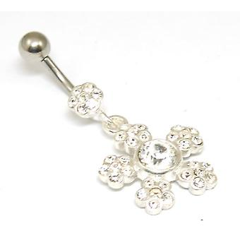 Navel Bar Stainless Steel Rhinestone Flower Drop Body Jewellery Belly Bar