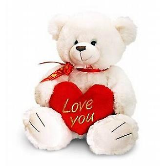 Deluxe Cream George Bear 90cm With Red Heart