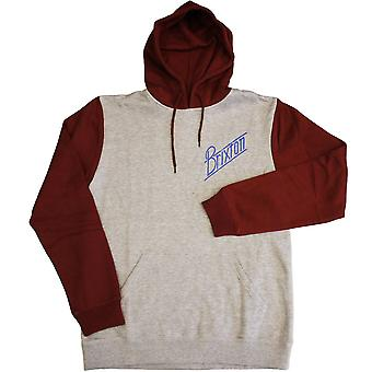 Brixton Ltd Wilson Fleece Pullover Hood Heather Grey Burgundy