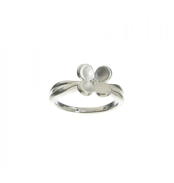Cavendish French Sterling Silver Brushed Four Petals Ring