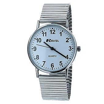Ravel Men's Round White Dial Silver Expander Bracelet Watch R0229.15.1
