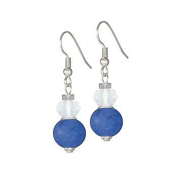 Eternal Collection Rhapsody Blue Jade And Crystal Drop Pierced Earrings