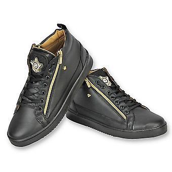 Miesten kengät-Mens Sneaker Bee musta kulta-CMS98-musta