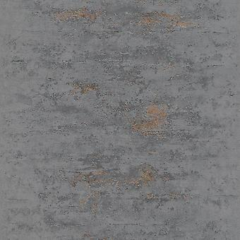 Grandeco Orion Concrete Industrial Stone Distressed Metallic Copper Grey Wallpaper ON4201